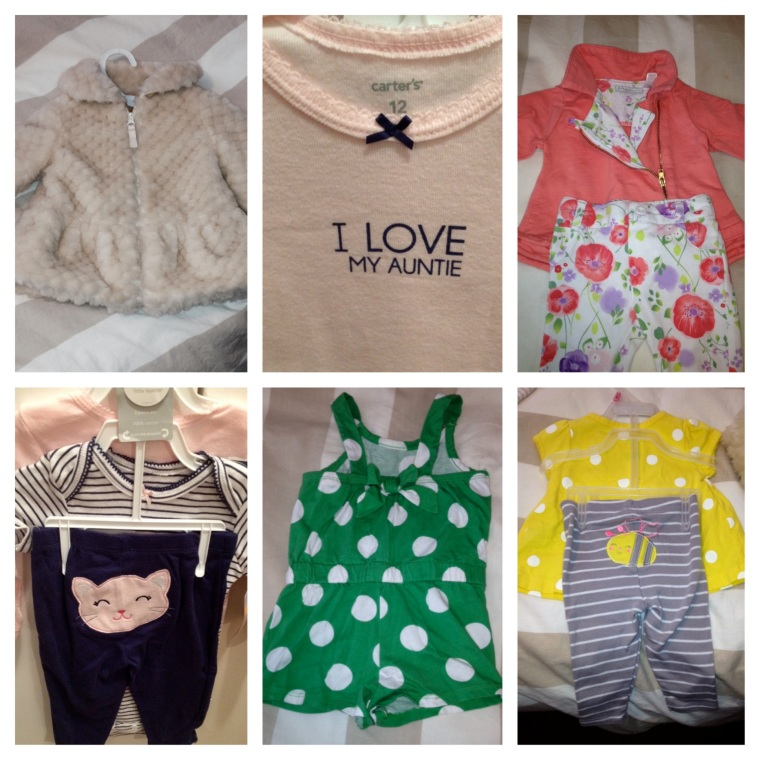 Adorable baby clothes I've collected at Mom2Mom consignment sales for my baby niece!