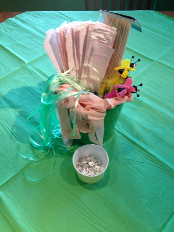 Wish stick supplies for the party craft project at the shower.