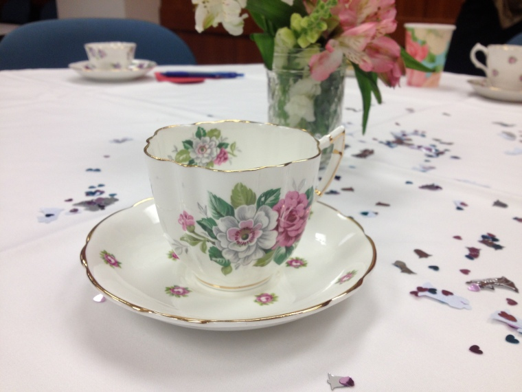 One of the many pretty tea cup sets loaned by the nuns.