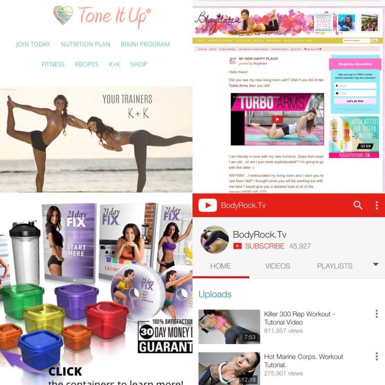Top left: Tone it up. Top right: Blogilates. Bottom left: Beachbody 21 day fix. Bottome right: bodyrocktv.