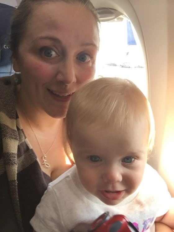 Ziva and Mama on the plane.